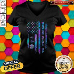 Never Give Up American Flag Stone Lotus Color V-neck