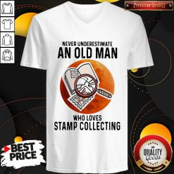 Never Underestimate An Old Man Who Loves Stamp Collecting V-neck