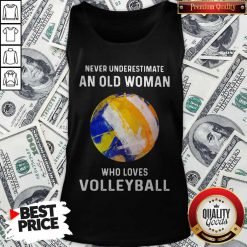 Never Underestimate An Old Woman Who Loves Volleyball Tank Top