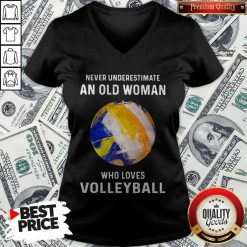 Never Underestimate An Old Woman Who Loves Volleyball V-neck