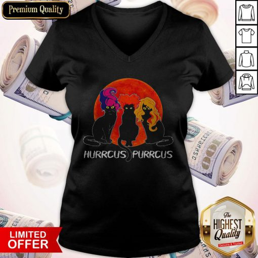 Nice Cats Hurrcus Purrcus Blood Moon V-neck