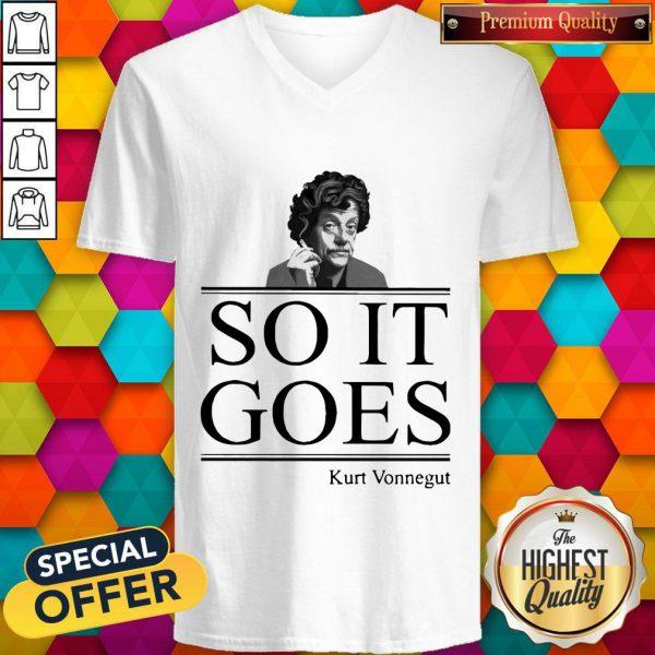 Nice Kurt Vonnegut So It Goes V-neck