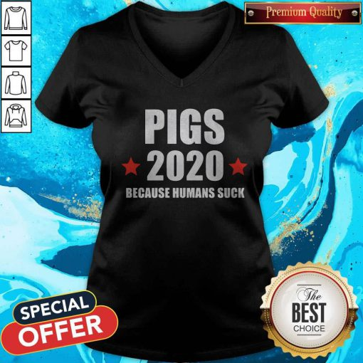 Nice Pigs 2020 Because Humans Suck V-neck