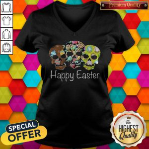 Nice Skull Happy Easter V-neck