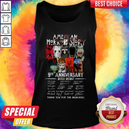 Official American Horror Story 9th Anniversary 2011 2020 Thank You For The Memories Signatures Tank Top