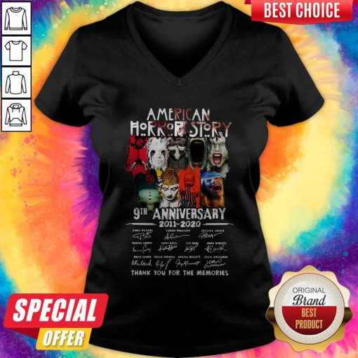 Official American Horror Story 9th Anniversary 2011 2020 Thank You For The Memories Signatures V-neck