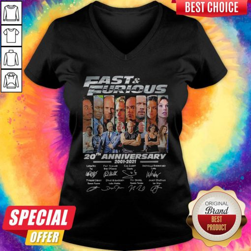 Official Fast And Furious 20th Anniversary Signatures V-neck