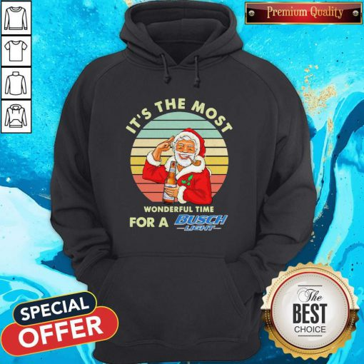 Santa Claus It's The Most Wonderful Time For A Busch Light Vintage Hoodie