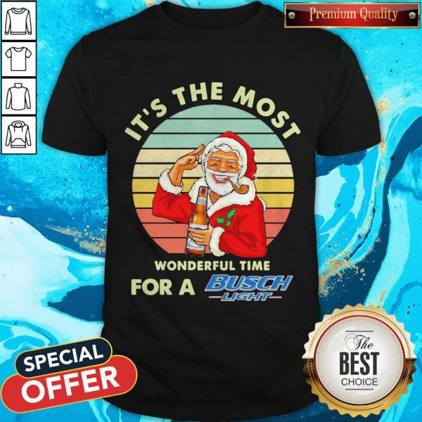 Santa Claus It's The Most Wonderful Time For A Busch Light Vintage Shirt