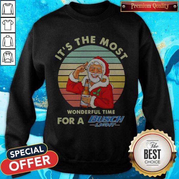 Santa Claus It's The Most Wonderful Time For A Busch Light Vintage Sweatshirt