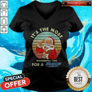Santa Claus It's The Most Wonderful Time For A Busch Light Vintage V-neck