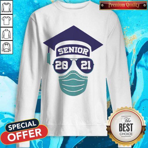 Senior 2021 Sunglasses Mask Graduation Sweatshirt