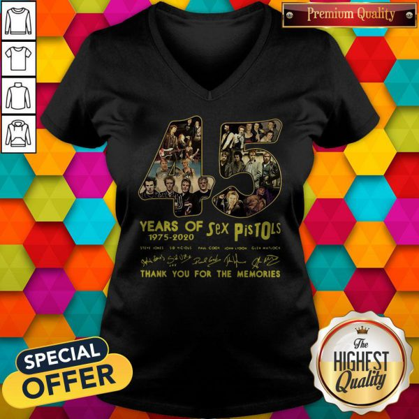 Sex Pistols 45 Years Of 1975 2020 Thank You For The Memories Signature V-neck