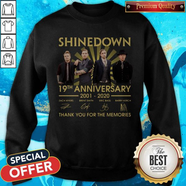 Shinedown 19th Anniversary 2001 2020 Thank You For The Memories Signatures Sweatshirt