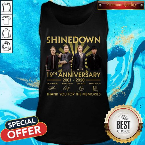 Shinedown 19th Anniversary 2001 2020 Thank You For The Memories Signatures Tank Top