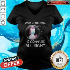Unicorn Every Little Thing's Gonna Be Alright Bubbles V-neck