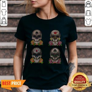 Aces Sugar Skulls Day Of The Dead Dia De Los Muertos V-neck