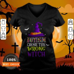 Autism Choose The Wrong Witch Halloween T-V-neck