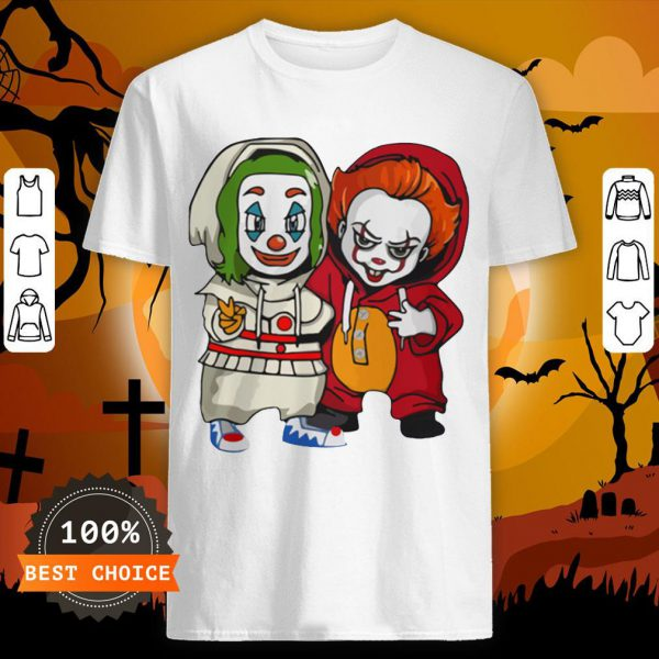 Baby Joker And Pennywise Horror Movies Characters Halloween Shirt