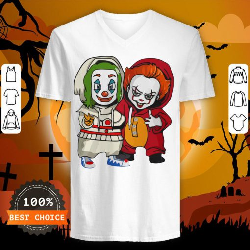 Baby Joker And Pennywise Horror Movies Characters Halloween V-neck