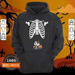 Baby Skeleton With Candy Halloween Maternity T-Hoodie