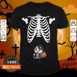 Baby Skeleton With Candy Halloween Maternity T-Shirt