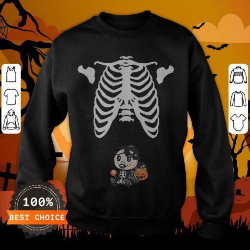 Baby Skeleton With Candy Halloween Maternity T-SweatshirtBaby Skeleton With Candy Halloween Maternity T-Sweatshirt