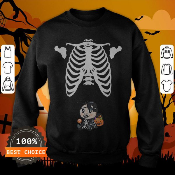 Baby Skeleton With Candy Halloween Maternity T-SweatshirtBaby Skeleton With Candy Halloween Maternity T-Sweatshirt