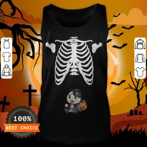 Baby Skeleton With Candy Halloween Maternity T-Tank Top