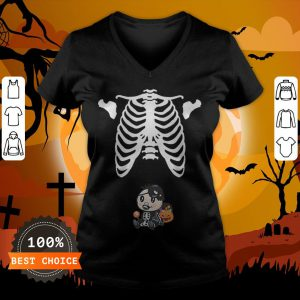Baby Skeleton With Candy Halloween Maternity T-V-neck