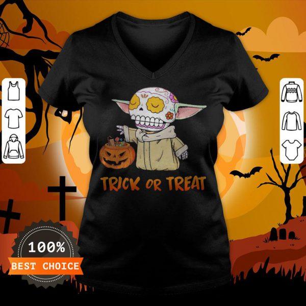Baby Yoda Pumpkin Trick Or Treat Halloween V-neck