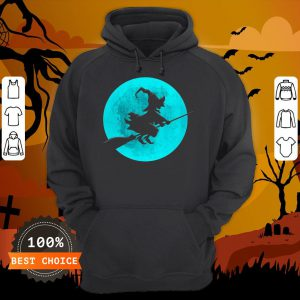 Beautiful Witch On Broom With Full Moon Gift For Halloween Costume Hoodie