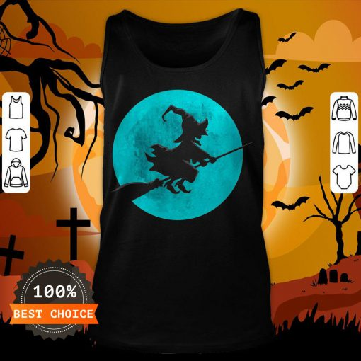 Beautiful Witch On Broom With Full Moon Gift For Halloween Costume Tank Top