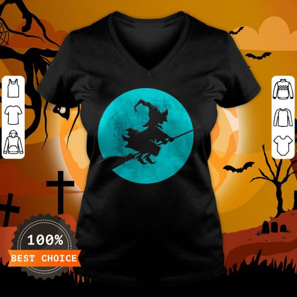 Beautiful Witch On Broom With Full Moon Gift For Halloween Costume V-neck