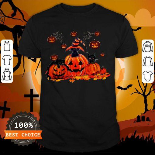 Black Cats Pumpkin Halloween Shirt