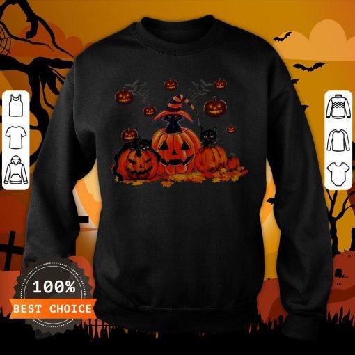 Black Cats Pumpkin Halloween Sweatshirt