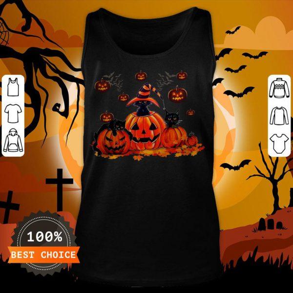 Black Cats Pumpkin Halloween Tank Top