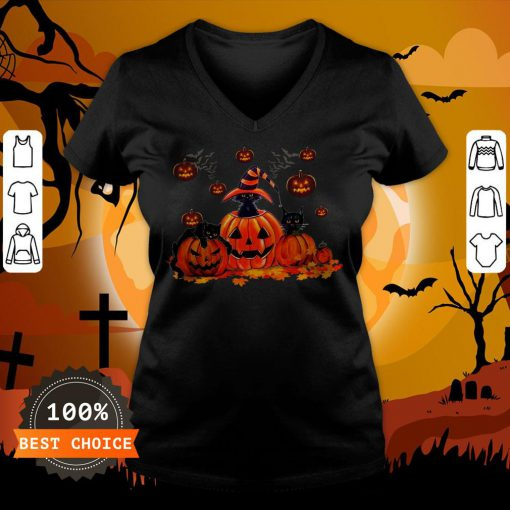 Black Cats Pumpkin Halloween V-neck