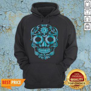 Blue Day Of The Dead Sugar Skull Head Skeleton Hoodie