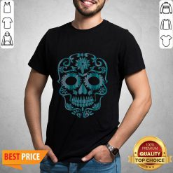 Blue Day Of The Dead Sugar Skull Head Skeleton Shirt