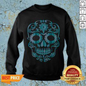 Blue Day Of The Dead Sugar Skull Head Skeleton Sweatshirt