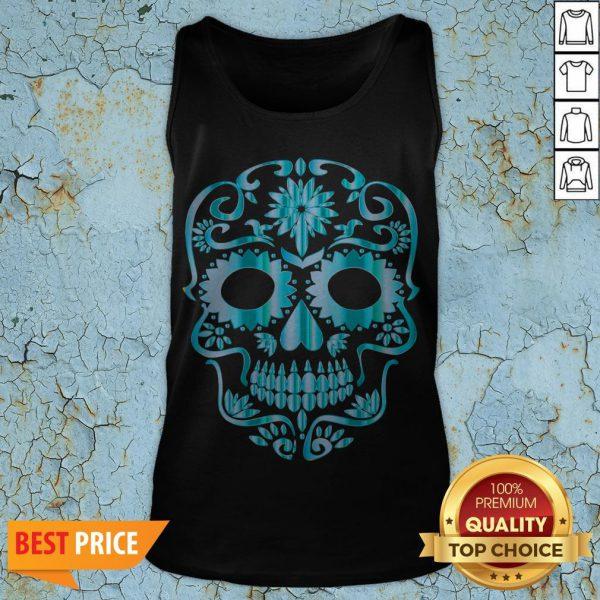 Blue Day Of The Dead Sugar Skull Head Skeleton Tank Top