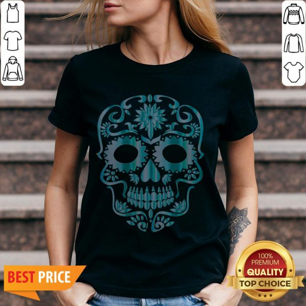 Blue Day Of The Dead Sugar Skull Head Skeleton V-neck