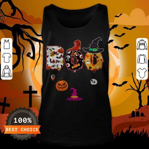 Boo Halloween Costume Dinosaur Ghosts Pumpkin Witch Hat T-Tank Top