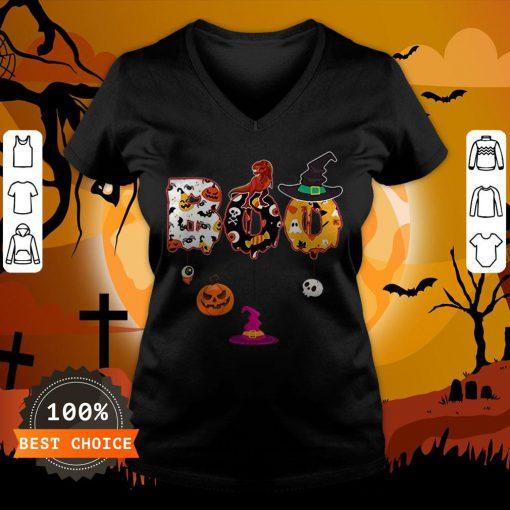 Boo Halloween Costume Dinosaur Ghosts Pumpkin Witch Hat T-V-neck