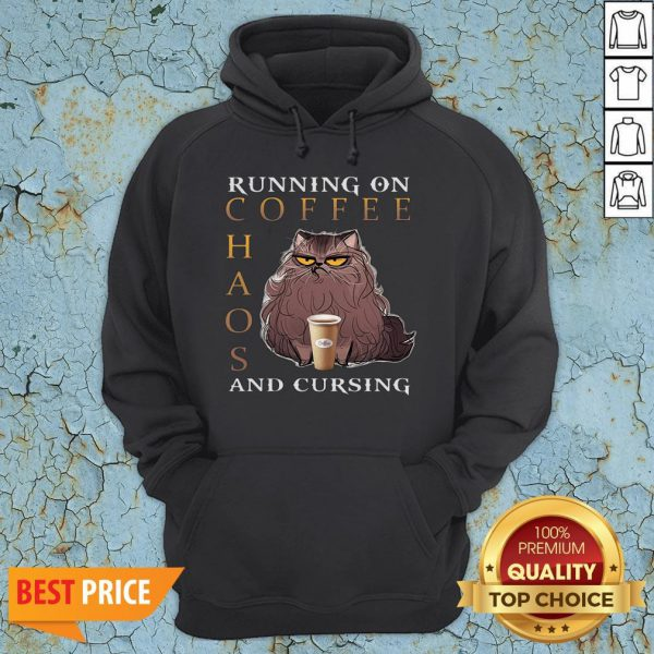 Cat Running On Coffee Chaos And Cursing Hoodie