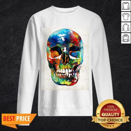 Colorful Skull Day Of The Dead Dia De Muertos Sweatshirt