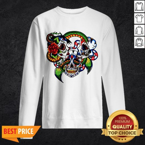 Cracked Candy Skulls Day Of The Dead T-Sweatshirt