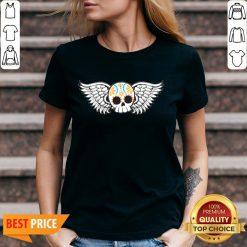 Cute Winged Skulls Day Of The Dead Dia De Muertos V-neck