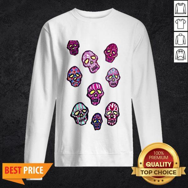 Dancing Colored Sugar Skulls T-Sweatshirt